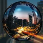 Crystal ball shows the city.